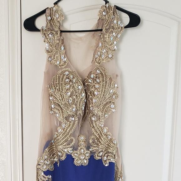 Dresses & Skirts - Dark blue and hold beaded dress